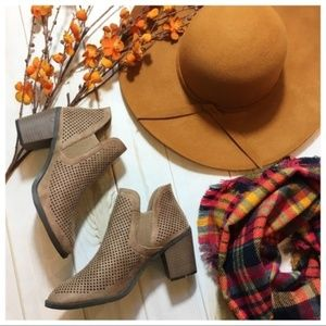 Taupe Perforated Bootie Size 10